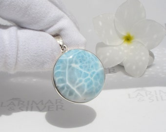 Larimar pendant by Larimarandsilver, The Source of the Fairies - crystal blue Larimar round, turtleback clear water handmade Larimar pendant