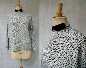 Black&White Highnecked Dotted Blouse
