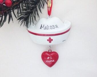 Nurse Hat Personalized Christmas Ornament - Nurse Ornament - Personalized Ornament - Custom Name or Message