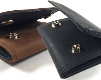 Mens Basic Trifold Wallet with Snaps, Genuine Leather, Made in USA