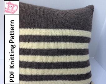 """PDF KNITTING PATTERN, knit pillow cover pattern, Stripe pillow cover, 18""""x18"""""""