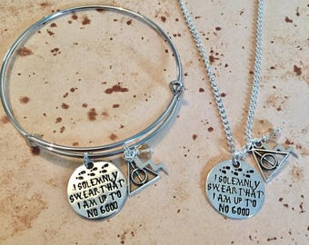 I solemnly swear that I am up to no good - Charm Necklace, Bangle or Keyring