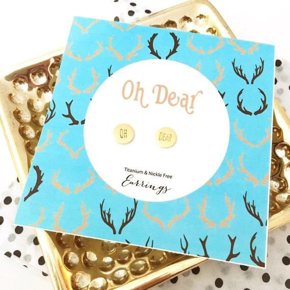stud earrings, Oh dear earrings, silly earrings, rose gold earrings, gold jewelry