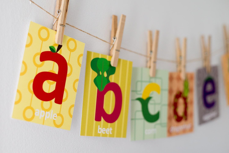 Alphabet Cards Fruit and Vegetable Cards Nursery Wall Art