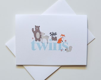 Greeting Card - TWIN Baby Forest Animals