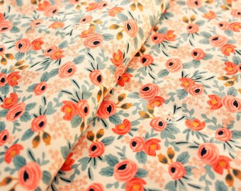 Cotton and Steel Fabric, Rifle Paper Co., Les Fleurs, Rosa, Spring 2016, RJR, Floral Fabric, Cotton, Peach, Quilting, Sewing, Half Metre