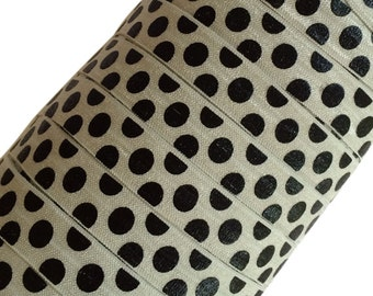 """Black Large Polka Dots on Silver 5/8"""" Fold Over Elastic - 1, 3 or 5 Yards"""