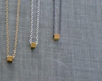 Tiny Cube Necklace- thin choker, minimalist necklace, dainty chain choker, layering necklace, geometric choker, tiny pendant, simple choker