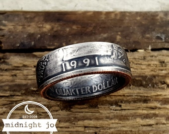 1991 Coin Ring - US Quarter Coin Rings - Double Sided Coin Ring - Coin Jewelry - Anniversary Gift - Birthday Gift for Her - 1991 Jewelry