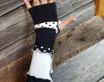 Upcycled Sweater Black+White Funk Arm Warmers, Texting Gloves