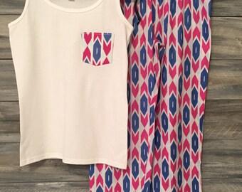 Bridesmaid Pajamas, Monogram Pajamas, Bridesmaid PJs, Bridesmaid Monogram, Pajama Set, Pajama Set, Ladies monogram loungewear