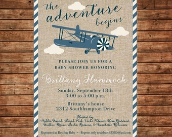 Boy Invitation Vintage Plane Airplane Burlap Shower Birthday Party - Can personalize colors /wording - Printable File or Printed Cards