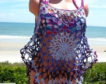 Crochet Purples Mandala Top, Beach Cover, Tank Top, medium
