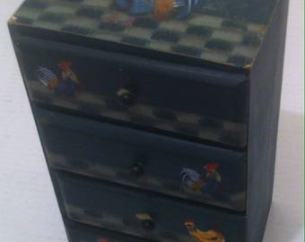 Vintage Wooden Country Decoration, Storage Box, 4 Drawers, Chicken, Rooster, Farm, Home Decor, 9 1/2 x 5 1/2 x 4 1/2 (e)