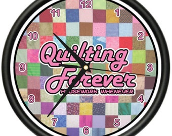 Quilting Wall Clock Sewing Fabric Family Art Gift