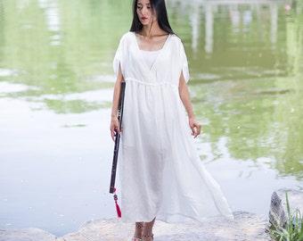 Womens Loose Fitting V Neck Silk Long Robe, Summer Loose Fitting Silk Dresses, Womens Casual Dresses, Womens White Dresses Robe, Bust>130CM