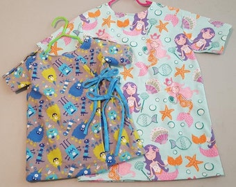 Custom made toddlers, childrens and kids hospital gowns
