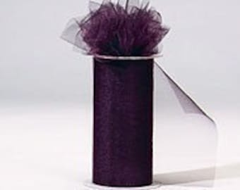 6 inch x 300 foot Nylon Tulle Roll - EGGPLANT-**On Sale Now **