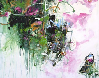 "ABSTRACT PAINTING ""Garden Party"" 36 x 36 canvas ORIGINAL Art by Elizabeth Chapman"