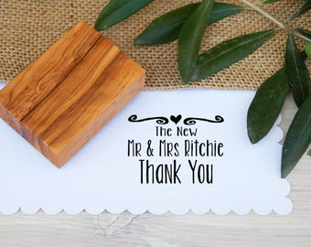 Custom The New Mr & Mrs Thank You  Olive Wood Stamp