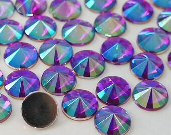 Dark Purple AB 4/5/6/10mm Pointed Face Round Acrylic Flatback Rhinestones Scrapbooking Art Nail Craft - Iridescent