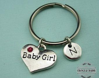 Baby Girl Keychain, Baby Girl Charm, Heart Keychain, Gift for Mom, Baby Shower Gift, Baby Shower,Charm Keychain,Monogram,Personalized,CTX016