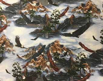 Bald Eagle Fabric / Bird / Mountain / 100% Cotton / Brown / Grey / shamash and Sons / Sold by the yard
