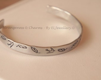 """Hand Stamped 'Birds of a Feather'1/4"""" Aluminium Cuff Bracelet, Stamped, Birds, Feather, Birds, Metal Jewellery, Quote, Handmade,"""