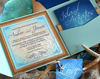 Beach Wedding Invitation - DEPOSIT - Destination Wedding Invitation - Wedding Invites, Custom Design for Beach Weddings - Ceremony Cards