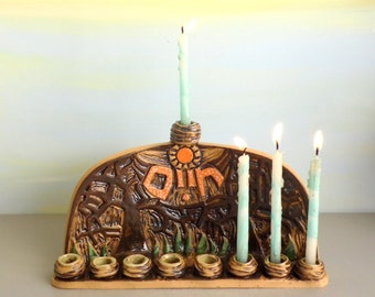 Hanukkah menorah, Menorah, Ceramic menorah, Hanukkah decoration, Rustic menorah, Hanukkah gift, Jewish gift, Jewish art, Jewish wedding gift