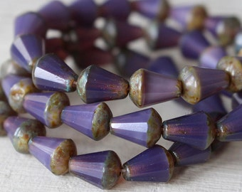 8x6mm Glass Drop Beads  - Long Drill Faceted Tear Drop - Jewelry Making Supplies - 6x8mm Drop - Purple Opaline - 10 Beads