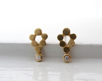 18kt gold and diamond mini-chandelier post earrings, diamond stud earrings, gold stud earrings, recycled gold jewelry