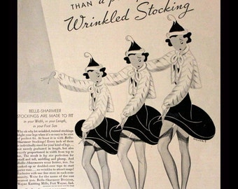 1937 Belle Sharmeer Stockings Ad - Nylons - Pantyhose - Thigh High - Garters - Stockings - Lingerie - Retro Vintage Fashion Advertising