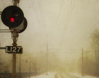 The Signals - Nature Photography - Surreal Dreamy Railroad and Fog Wall Art - Photograph 8x10