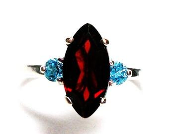 "Garnet, garnet ring, garnet accent ring, red and blue, 3 stone ring, anniversary ring, s 6 1/2 ""Big Sister"""