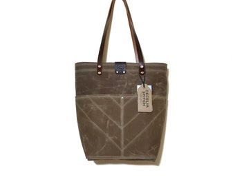 Ready to ship Field Tan Brown Sophie - Over the shoulder waxed canvas tote