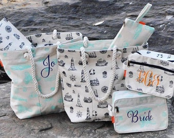 Monogrammed Nautical tote, Lighthouse Tote, Sealife tote, Monogrammed Nautical Cosmetic Bag, Monogrammed Nautical clutch, Nautical Bags