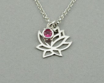 Lotus Necklace - Sterling Silver Lotus Flower Necklace, Lotus Flower Jewelry, Yoga Jewelry, Yoga Gifts, Birthstone Necklace