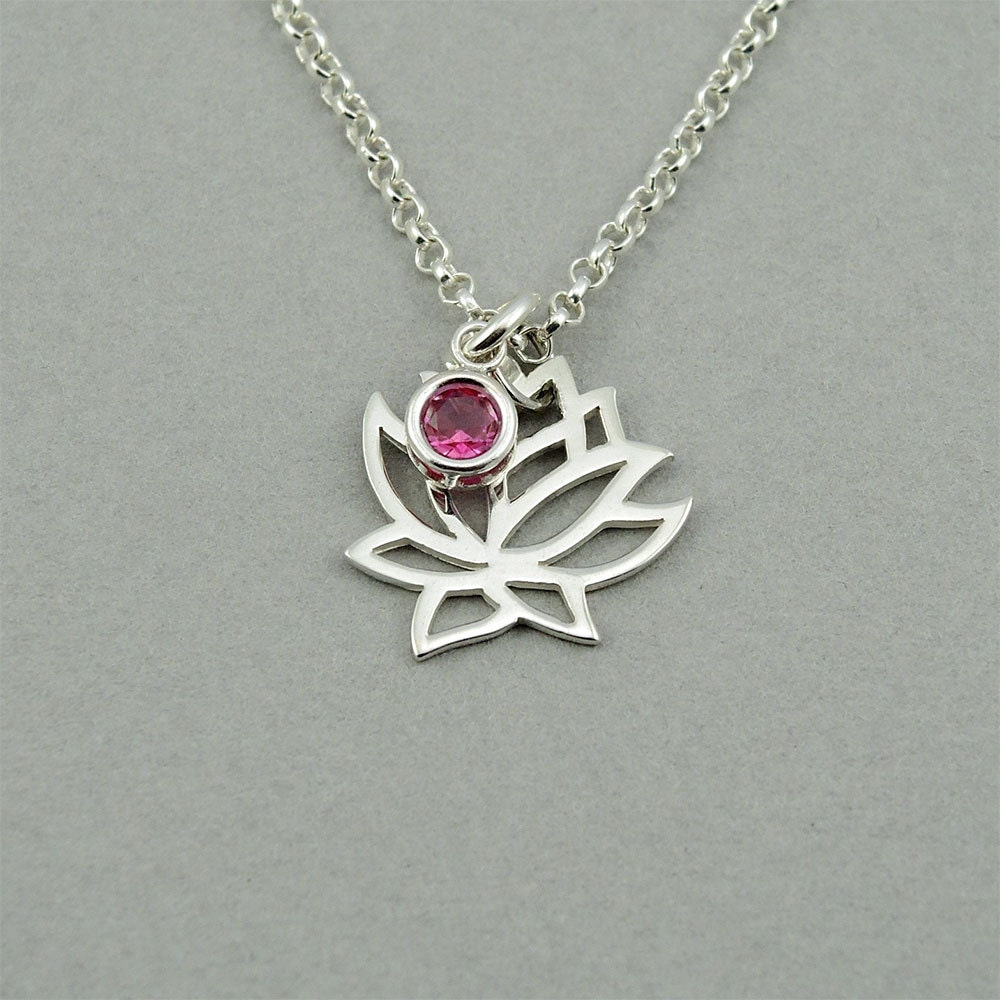 Lotus Necklace Sterling Silver Lotus Flower Necklace Lotus