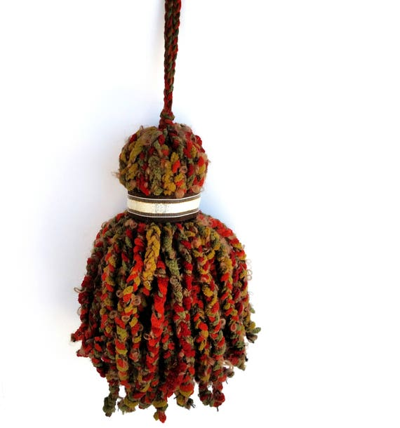 Giant Over Sized Braided Boucle and Chenille Yarn Tassel in Red, Green, Orange and Brown