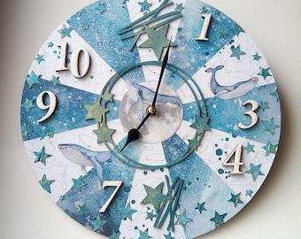 Wall clock, Unique handmade wall clock, Art wall clock, Handmade wall clock