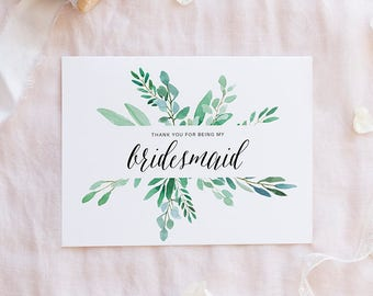 Wedding thank you cards etsy sg thank you for being my bridesmaid wedding thank you bridesmaid thank you card altavistaventures Choice Image