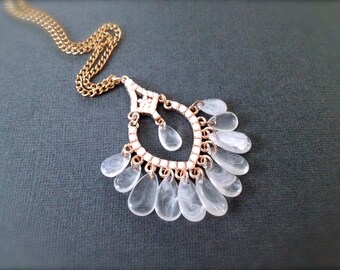 Dream Catcher Chandelier Necklace. White and Gold. Mystery. Teardrops. Gold Chain. Long Necklace. Boho. Under 20 Gifts for Her. Unique.