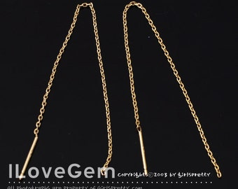 SALE / 10pcs / NP-1655 Gold, Threader Earring, Ear thread, 7.5cm chain, Cable chains ear threads, 925 sterling silver post