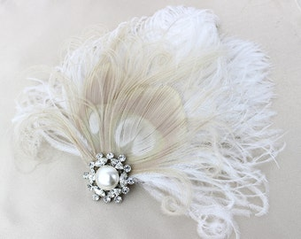 Ivory White Peacock Feather Fascinator, Head Piece, Pearl, Champagne. Swarovski Crystal, As Seen In California Wedding Day Magazine