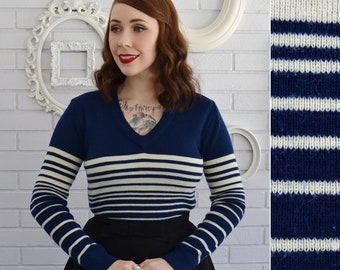 Vintage Blue and Cream Acrylic Striped Sweater with V-Neck by Sunflower Size XS or Small
