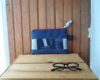 Large zipper recycled denim pouch bag make up medical knitting notion case