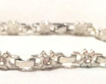 Vintage Crystals TENNIS Silver Link Vermeil Bracelet, Swarovski Crystals Silver Chain Bracelet 6060-13