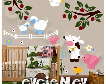 Wall Decal for Kids - Farm Wall Decals with pig, cow, chicken and sheep PLFRM010