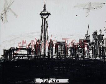 Toronto Art Print: Toronto Skyline featuring The CN Tower, 11X14